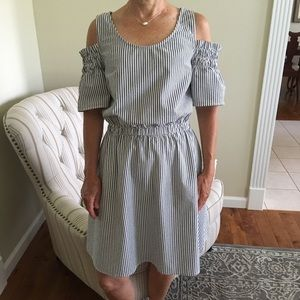 Cold Shoulder Seersucker Dress